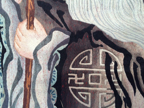 colgante chino bordado a mano en seda comienzos siglo 20