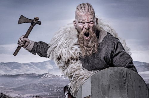 colgante colmillo lobo - oso vikingo damasquinado exclusivo