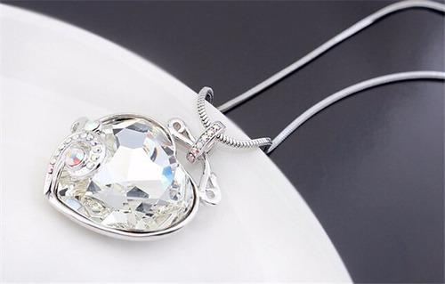 colgante corazón cristal swarovski, cadena plata y platino