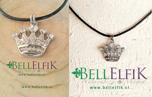 colgante corona realeza reina inoxidable brillos cuero joyas
