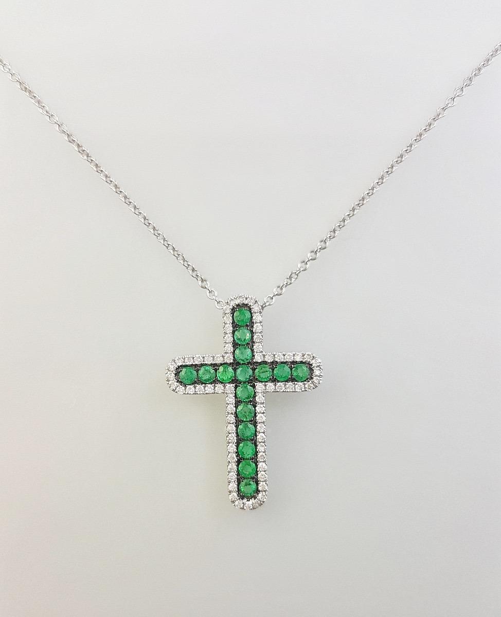 d06f38683d7d colgante cruz oro blanco diamantes y esmeralda - comunion. Cargando zoom.