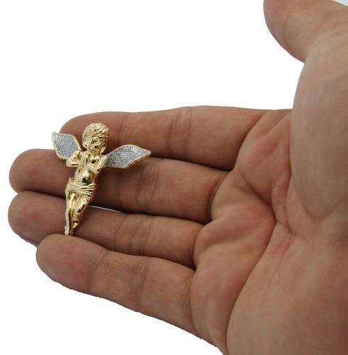 colgante de ángel con alas largas stardust gold-tone para ho