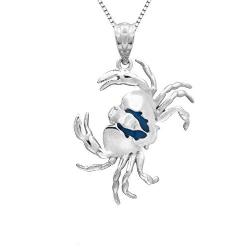 colgante de collar de cangrejo de esmalte azul plata esterli