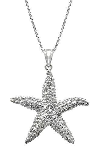 colgante de collar de estrella de mar con textura de plata e