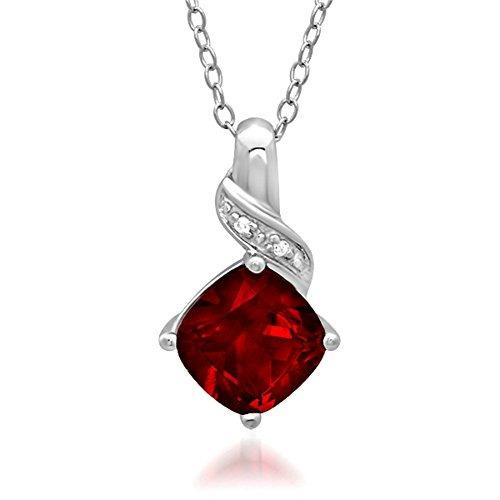 colgante de collar de rubíes y diamantes creado en plata de