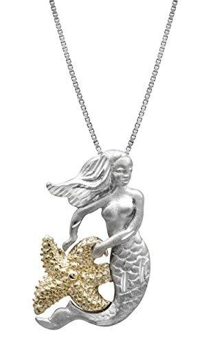 colgante de collar de sirena y estrellas de mar de plata est