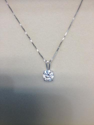 colgante de diamante redondo de 1.00 ct. en oro de 14k.