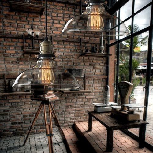 Colgante de estilo vintage loft industrial vidrio de 28cm for Decoracion loft industrial