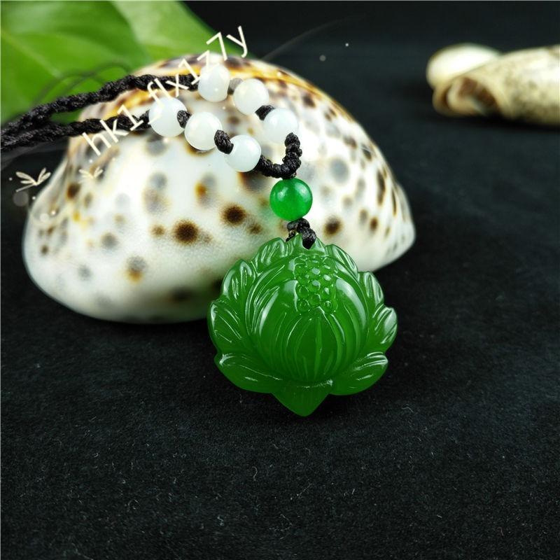 Colgante De Jade Verde Flor De Loto 30 X 28 Cm Reiki 15000 En