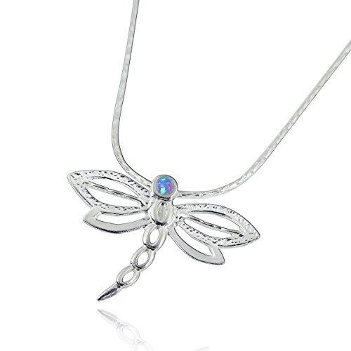colgante de libélula collar de plata esterlina 925 con ópalo