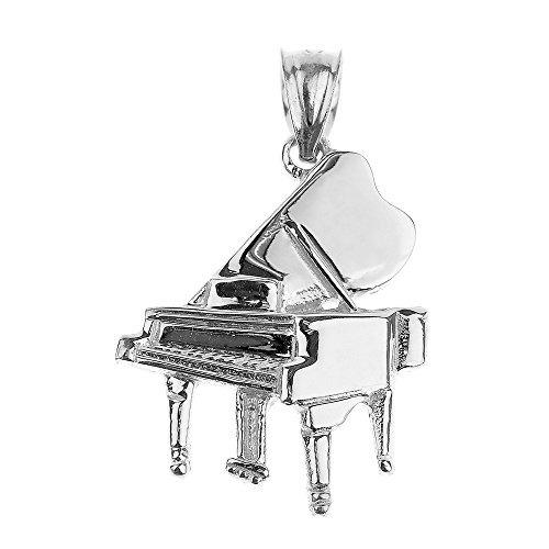 colgante de piano de cola de plata de ley 925