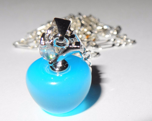 colgante de plata 925 opalo azul manzana joyas mas cadena