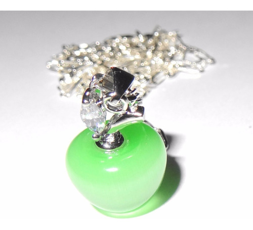 colgante de plata 925 opalo verde manzana joyas mas cadena