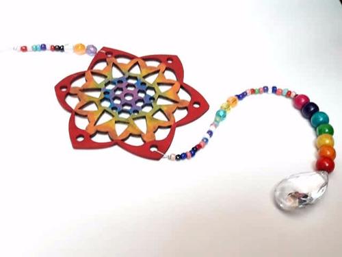 colgante decorativo mandala 7 chakras con pendulo activador