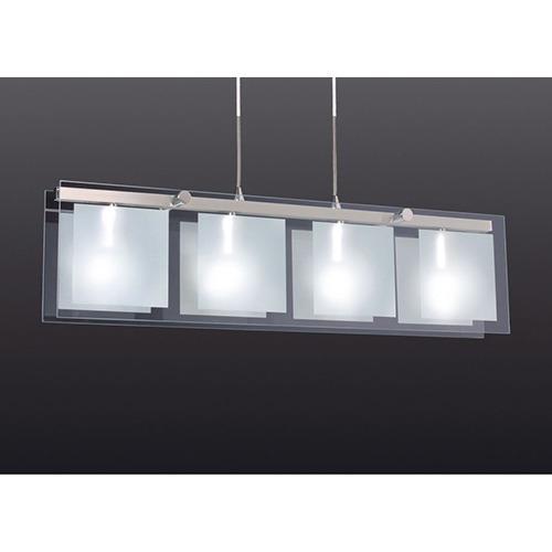 colgante diseño 4 lamparas e27 vidrio y acero calidad premiu