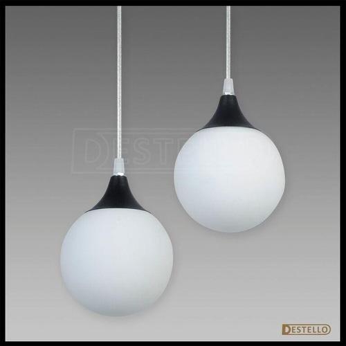 colgante globo 2 luces vidrio opal bajo cons y led