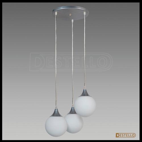 colgante  globo vidrio 3 luces   opal bajo cons y led
