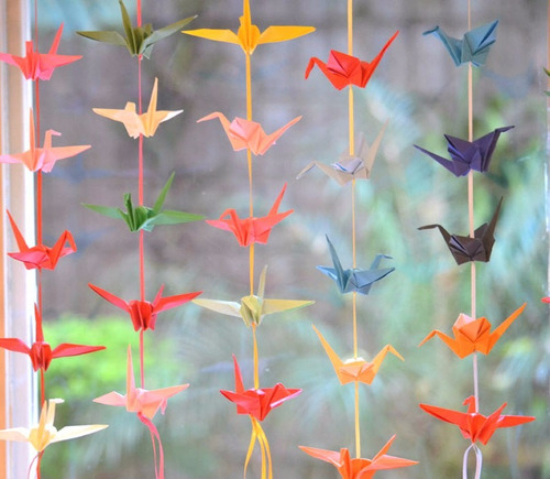 colgante guirnalda grullas origami souvenir cumpleaños deco