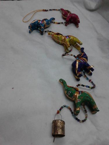 colgante hindú de 5 elefantes de tela con llamador