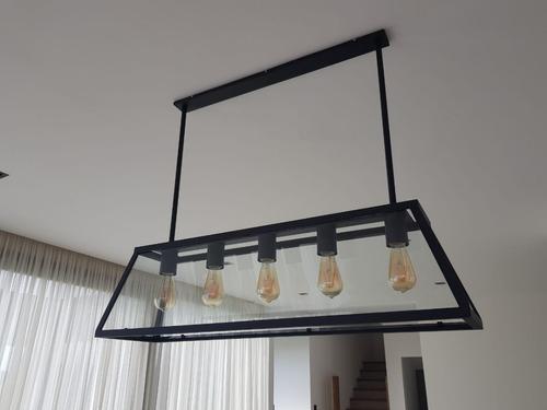 colgante industrial vintage 5 luces (incluye lamparas led)