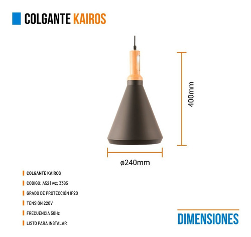 colgante leuk kairos moderno negro madera metal 1 luz e27