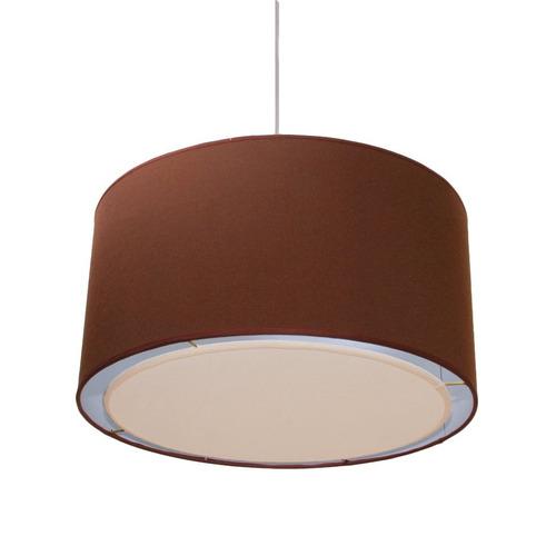 colgante pantalla cilindrico tela chocolate artelamp