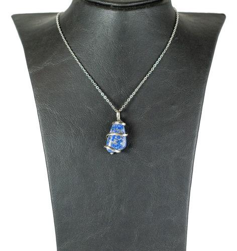 colgante piedra lapizlázuli engarzada  semipreciosa azul