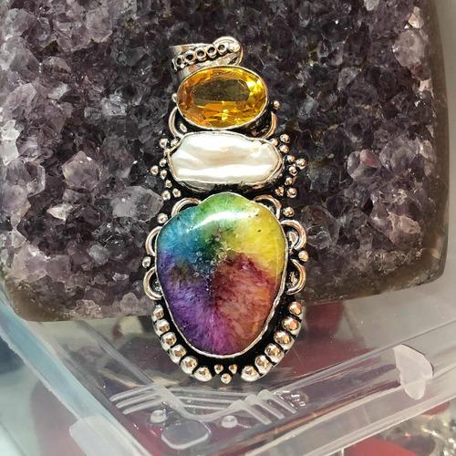 colgante plata 925, cuarzo solar drusa geoda citrino perl