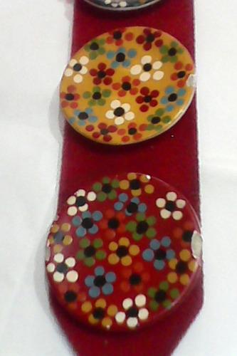 colgante retro años 70-con 3 platitos pintados