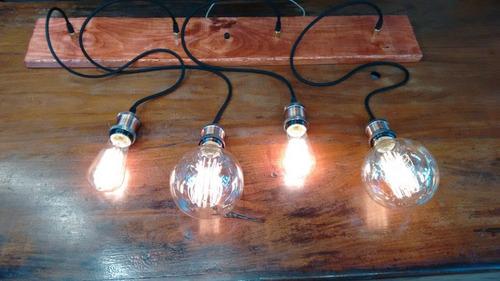 colgante vintage bronce cable textil floron y lampara