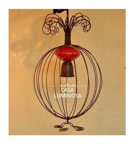 colgante vintage hierro oxido cod 038 casa luminosa e27