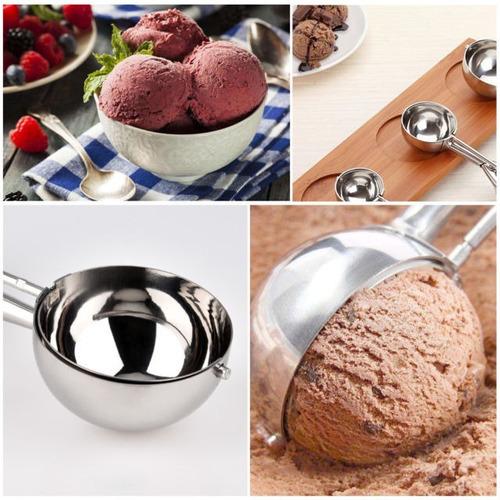 colher extratora de sorvete c/ ejetor manual inox - cozinha