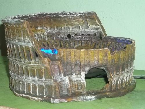 coliseo romano replica para acuario con luz y aire
