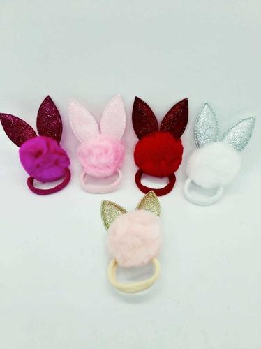 colitas pompón con orejas conejo glitter x 12 unidades