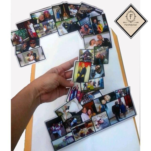 collage de fotos en n meros letras o forma aniversarios bs en mercado libre. Black Bedroom Furniture Sets. Home Design Ideas