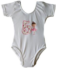 6ce66e61b8 Collant Bailarina 5 Anos Bordado Infantil Body Aniversário