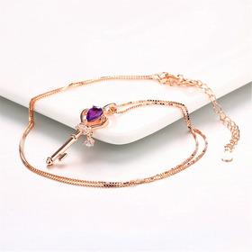 Collar  Cadena Oro 18k Plata  Amatista Y Zirconias