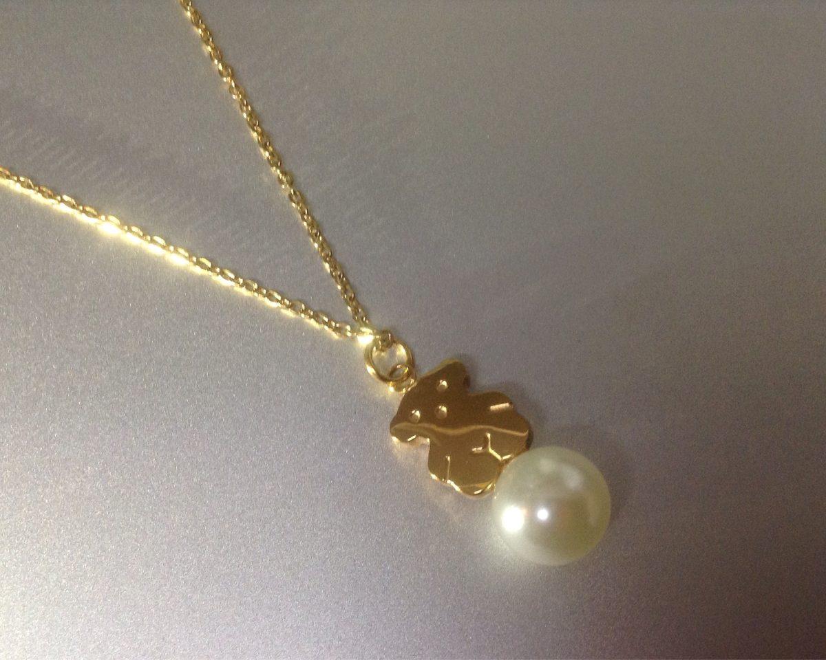 Boutique en ligne 75324 ed3a7 Collar Acero Inoxidable Con Perla Bañado En Oro18k Tipo Oso