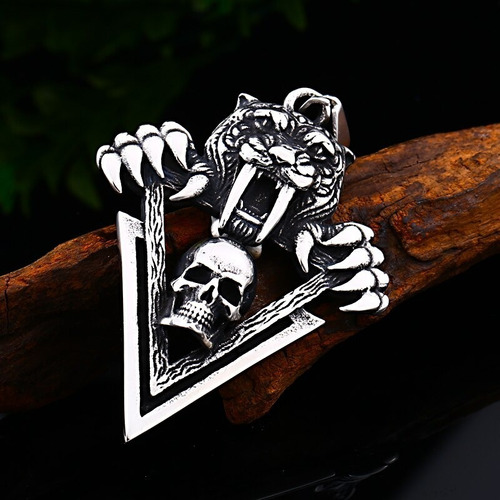 collar acero inoxidable cráneo calavera vikingo tigre hombre