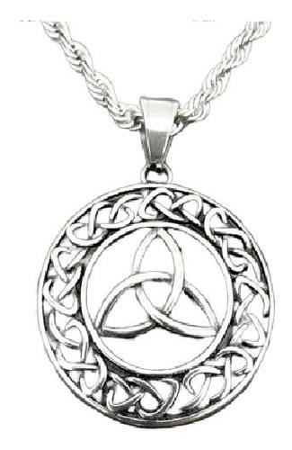 collar acero inoxidable plata nudo vikingo nordico hombre
