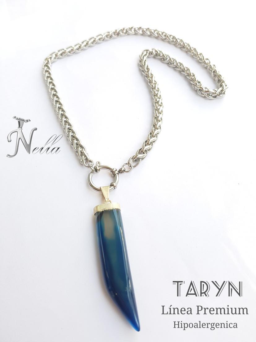 2cb034da5ff1 Collar Acero Quirúrgico Con Piedra Ágata Azul   Nella® -   399
