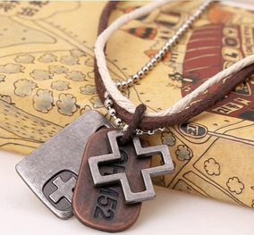 785e5235f46e Collar Ajustable Cruz Hombre De Piel Y Cuerda