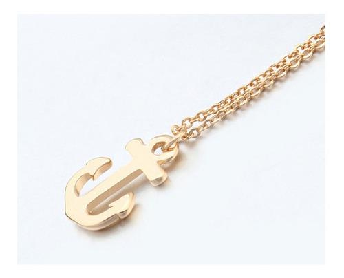 collar ancla de chapa de oro con cristal austriaco - 1232