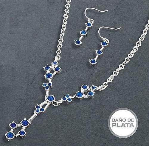 collar + aretes baño plata brillante cristales azules avon