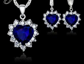 7c46b052b9df Collar Aretes Blue Heart Corazon Swarovski Amor Envio Grati