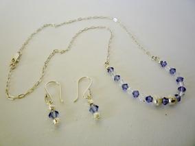 0e880fc6ae50 Collar Y Aretes De Plata Con Piedras De Cristal - Joyas en Mercado Libre  Perú