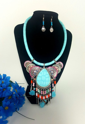 collar aretes vintage mujer mandalas accesorios azul moda