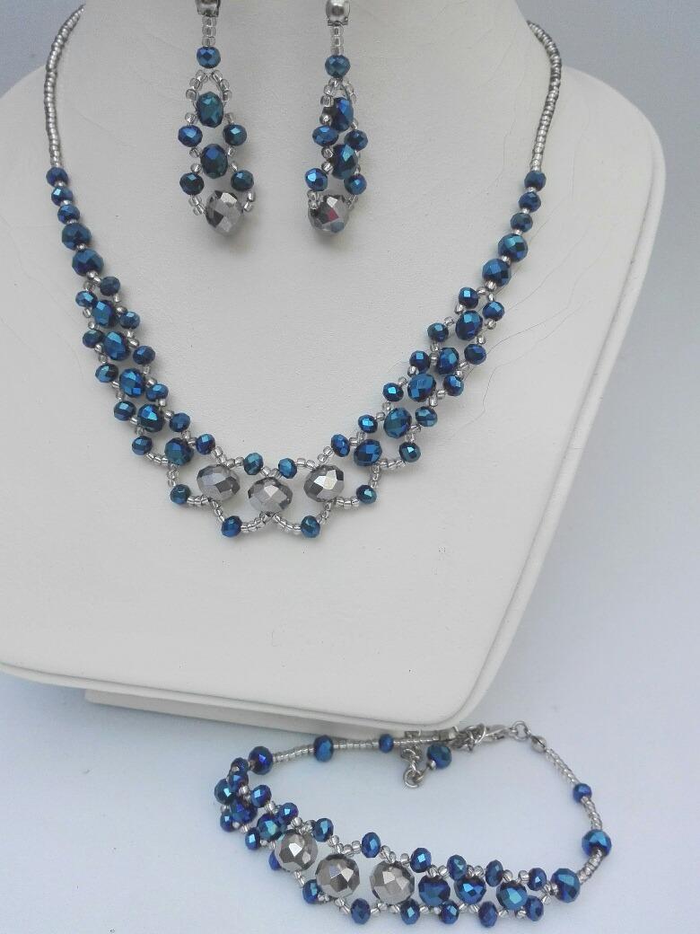 06a01af8816e Collar Aros Pulsera Fiesta Azul Y Plateado