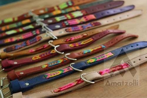 collar artesanal para mascota tejido sobre piel