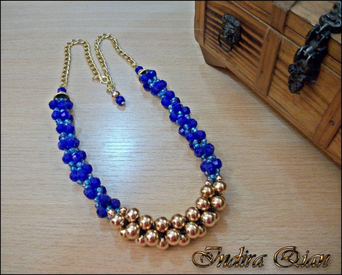 673af8eb1fbf collar azul y dorado. Cargando zoom.